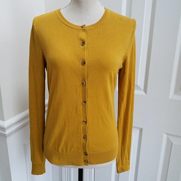Loft Sweaters By Ann Taylor Mustard Yellow Cardigan Sweater Poshmark